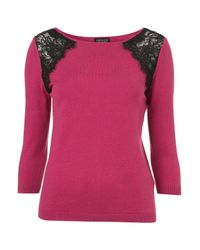 Topshop | Purple Knitted Shoulder Lace Top | Lyst