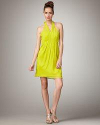 Vera Wang Lavender Natural Halter-neck Silk Dress