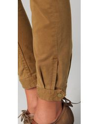7 For All Mankind | Brown Brushed Twill Maggee Pants | Lyst