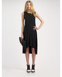 Alexander Wang | Black Pleated Leather-trim Dress | Lyst