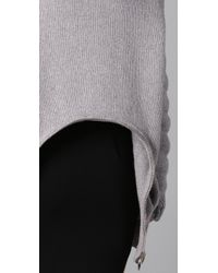 Alexander Wang - Gray Quilted Sleeve Sweater with Zip Back Peplum - Lyst