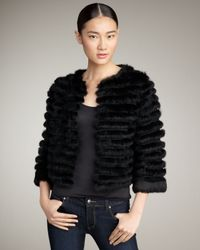 Alice + Olivia | Black Honor Cropped Fur Jacket | Lyst