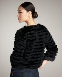 Alice + Olivia - Black Honor Cropped Fur Jacket - Lyst