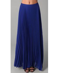 Alice + Olivia | Blue Shannon Pleated Long Skirt | Lyst