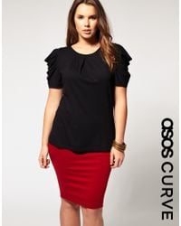 ASOS Collection | Black Asos Curve Jersey Top with Puff Sleeves | Lyst