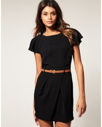 ASOS Collection | Black Asos Petite Mini Tulip Dress with Flute Sleeves | Lyst