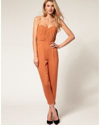 ASOS Collection | Orange Asos Pleated Bust Jumpsuit | Lyst