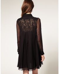 ASOS Collection | Natural Asos Petite Swing Dress in Lace Chiffon | Lyst