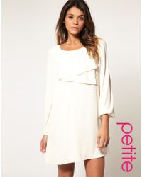 ASOS Collection   White Asos Petite Shift Dress with Double Pleat Neck   Lyst
