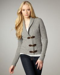 Autumn Cashmere | Gray Cable-knit Buckle Cardigan | Lyst