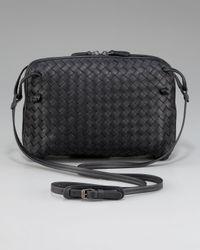Bottega Veneta - Black Crossbody Veneta Messenger Bag - Lyst
