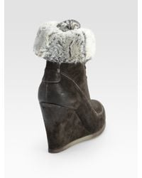 Boutique 9 - Gray Destin Suede Wedge Ankle Boots - Lyst