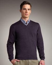 Brunello Cucinelli - Purple Tipped Crewneck Sweater, Eggplant for Men - Lyst