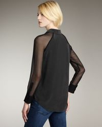 Equipment | Black Quinn Silk Chiffon-sleeve Blouse | Lyst