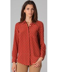 Equipment | Red Quinn Cuatro Puntos Print Blouse | Lyst