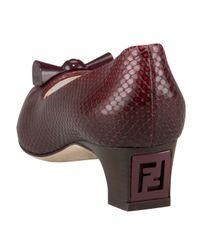 Fendi | Brown Snake-print Kitten-heel Pump | Lyst