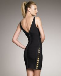 Hervé Léger - Black Side-detail Bandage Dress - Lyst