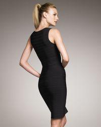 Hervé Léger - Black Zip-front Bandage Dress - Lyst