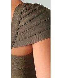 Hervé Léger - Brown Cap Sleeve Dress - Lyst
