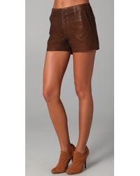 J Brand - Brown Waxed Shorts - Lyst