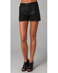 J Brand | Black Waxed Shorts | Lyst