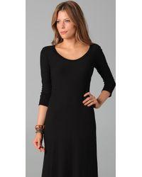 James Perse | Black 3/4 Sleeve Maxi Dress | Lyst