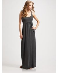 James Perse | Black Cotton Racerback Maxi Dress | Lyst