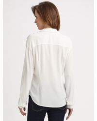 James Perse - White Crepe Utility Shirt - Lyst
