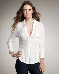 James Perse | White V-neck Button Top | Lyst