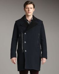 Lanvin | Blue Wool and Shearling Pea Coat for Men | Lyst