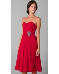 Marchesa | Red Strapless Chiffon Dress | Lyst