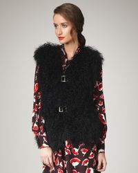 MILLY | Black Elsa Fur Vest | Lyst