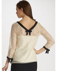MILLY | Natural Bow-sleeve Lace Top | Lyst