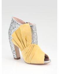 Miu Miu | Metallic Glitter & Suede Bow Peep Toe Ankle Boots | Lyst