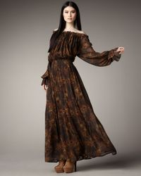 Rachel Zoe | Brown Peasant Maxi Dress | Lyst