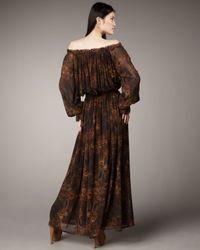 Rachel Zoe | Brown Peasant Maxi Dress | Lyst
