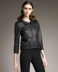 RED Valentino - Black Leather Ruffle Jacket - Lyst