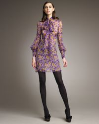 RED Valentino | Purple Pansy-print Tie-neck Dress | Lyst
