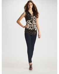 Robert Rodriguez | White Knot-front Leopard Print Top | Lyst