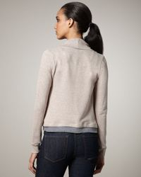 Splendid | Natural Draped Terrycloth Sweater | Lyst