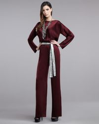 St. John | Purple Liquid Satin Jumpsuit | Lyst