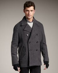 Theory | Gray Wool Pea Coat for Men | Lyst