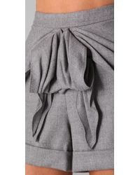 Tibi - Gray Bow Shorts - Lyst