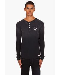 True Religion | Black Henley for Men | Lyst