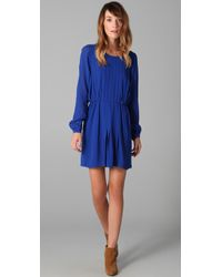 Twelfth Street Cynthia Vincent | Blue Long Sleeve Pleated Dress | Lyst