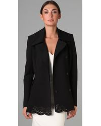 Zac Posen | Black Laser Cut Flared Pea Coat | Lyst