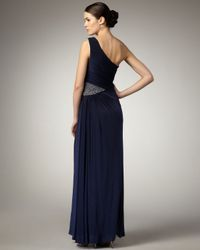Aidan Mattox | Blue One-shoulder Beaded-waist Gown | Lyst