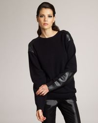 Stella McCartney | Black Faux-leather Patch Sweater | Lyst