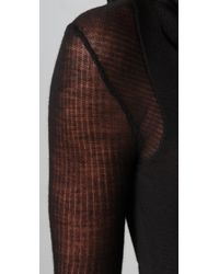 Helmut Lang | Black Sheer-sleeve Merino Wool Maxi Dress | Lyst