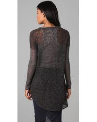 Helmut Lang | Gray V Neck Sheer Sweater | Lyst